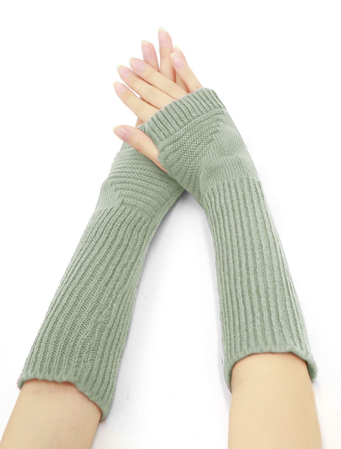 Women Elbow Length Ribbed Knitted Arm Warmers Pair Gray