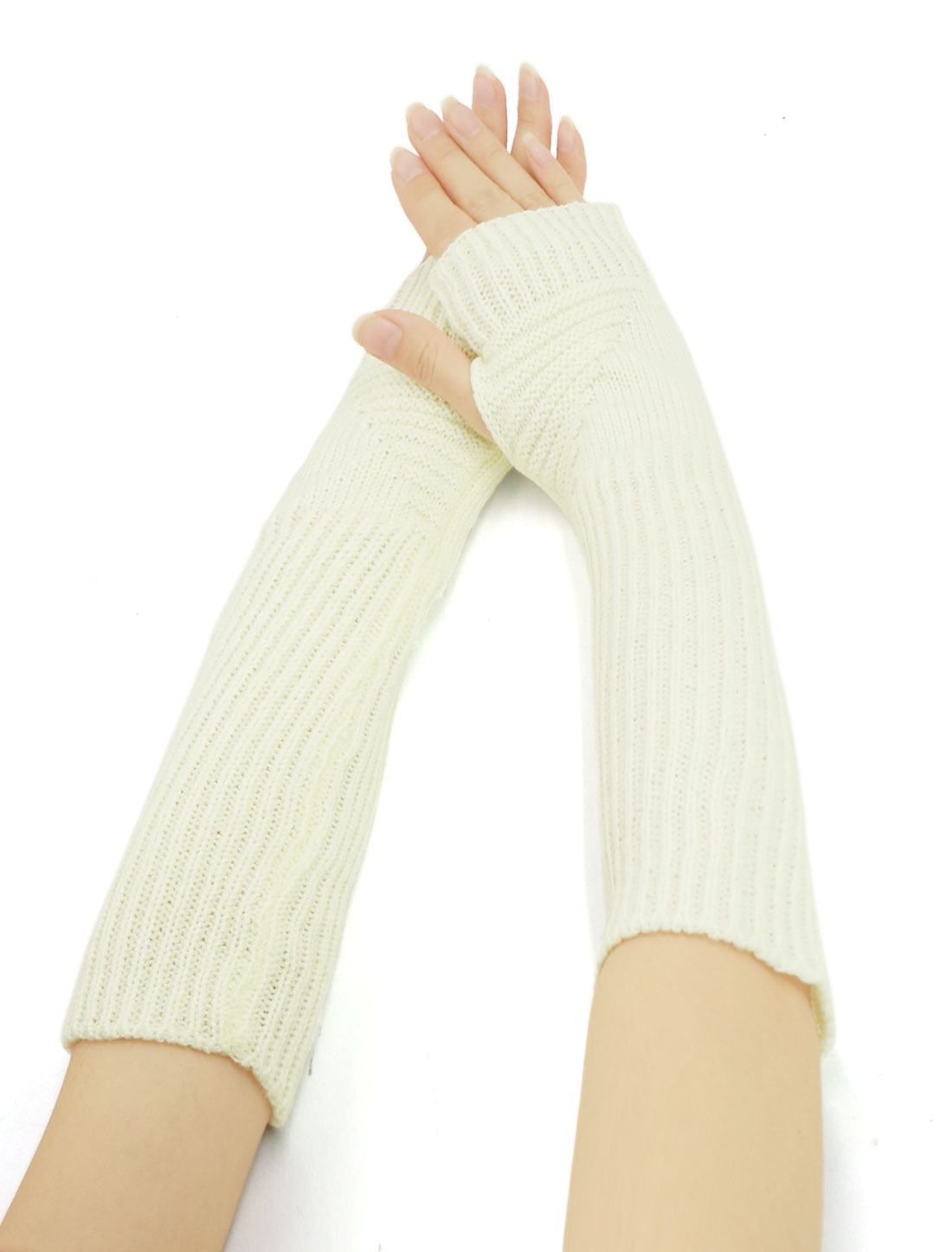 Women Elbow Length Ribbed Knitted Arm Warmers Pair White