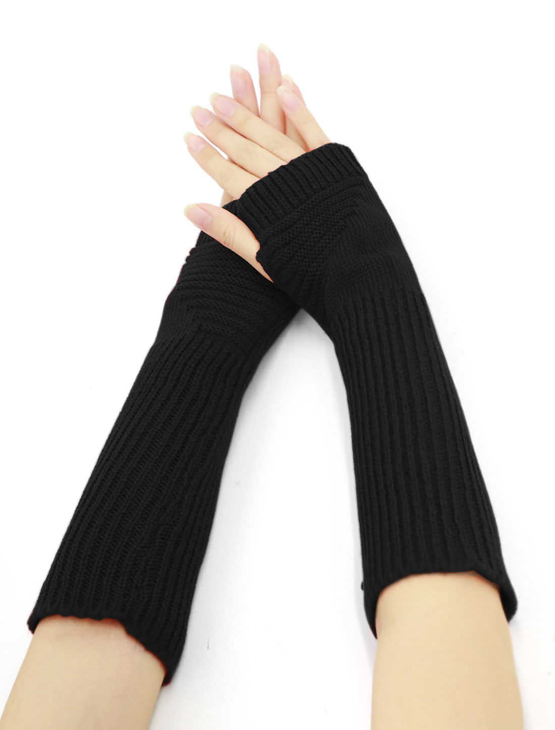 Women Elbow Length Ribbed Knitted Arm Warmers Pair Black