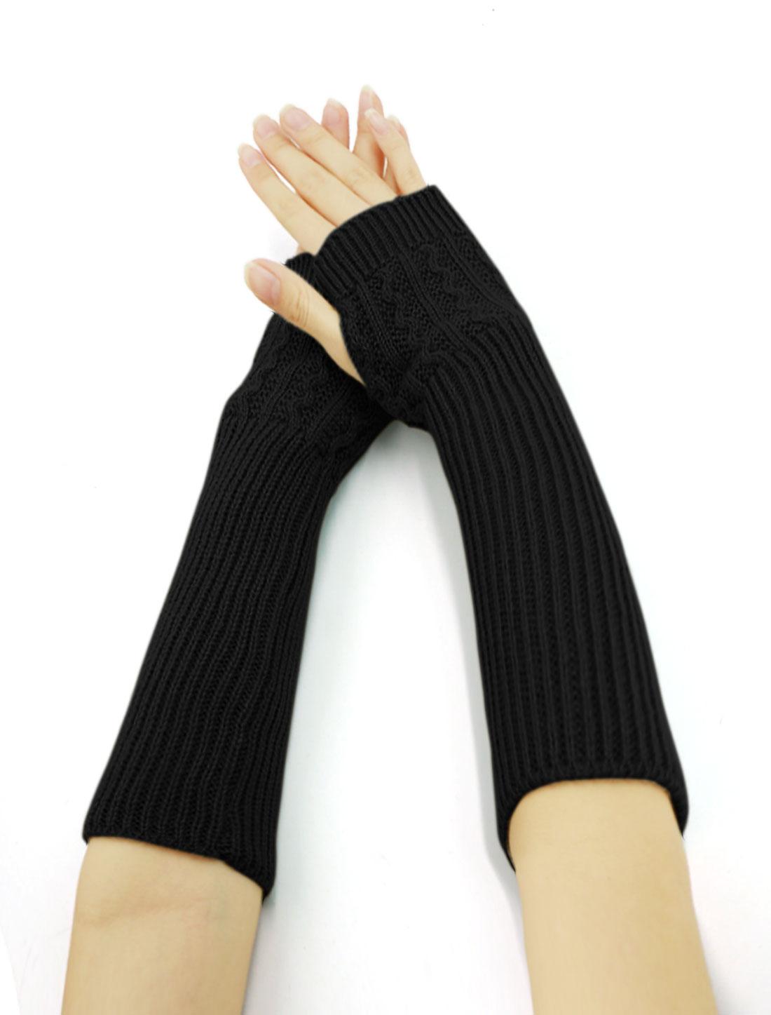 Women Wave Design Ribbed Knit Fingerless Gloves Pair Black