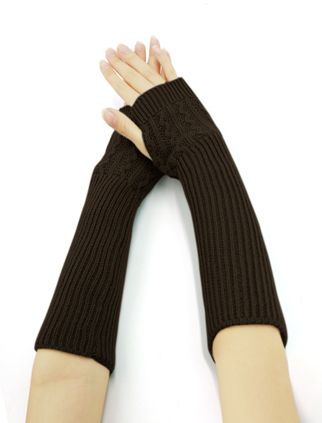 Women Wave Design Ribbed Knit Fingerless Gloves Pair Brown