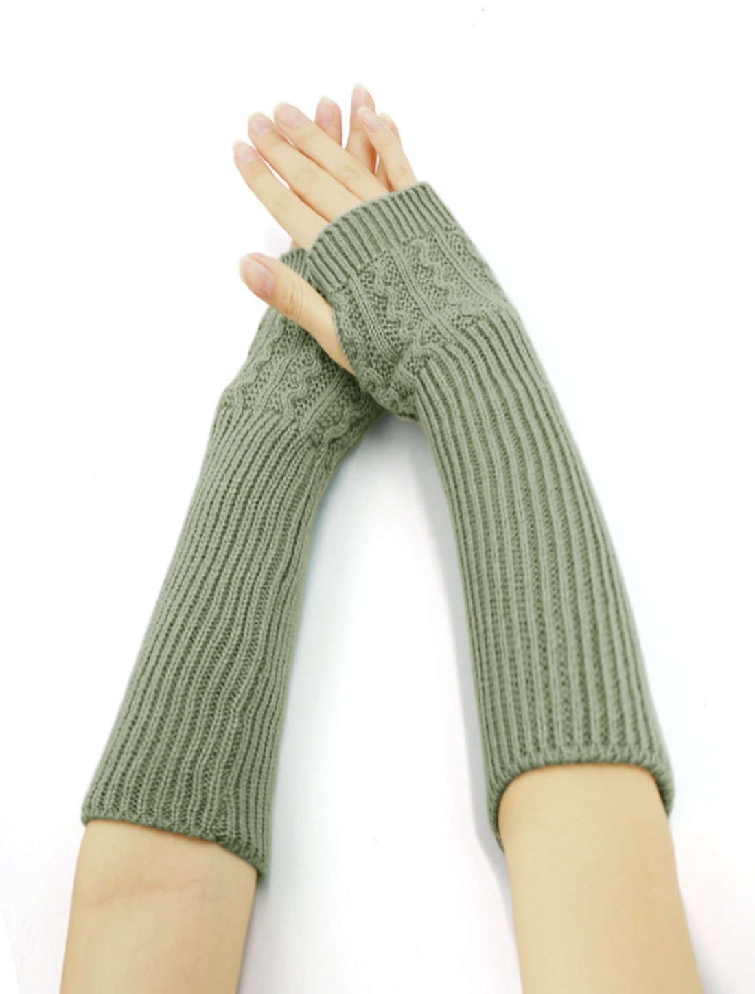 Women Ribbed Knit Fingerless Gloves Pair Light Gray