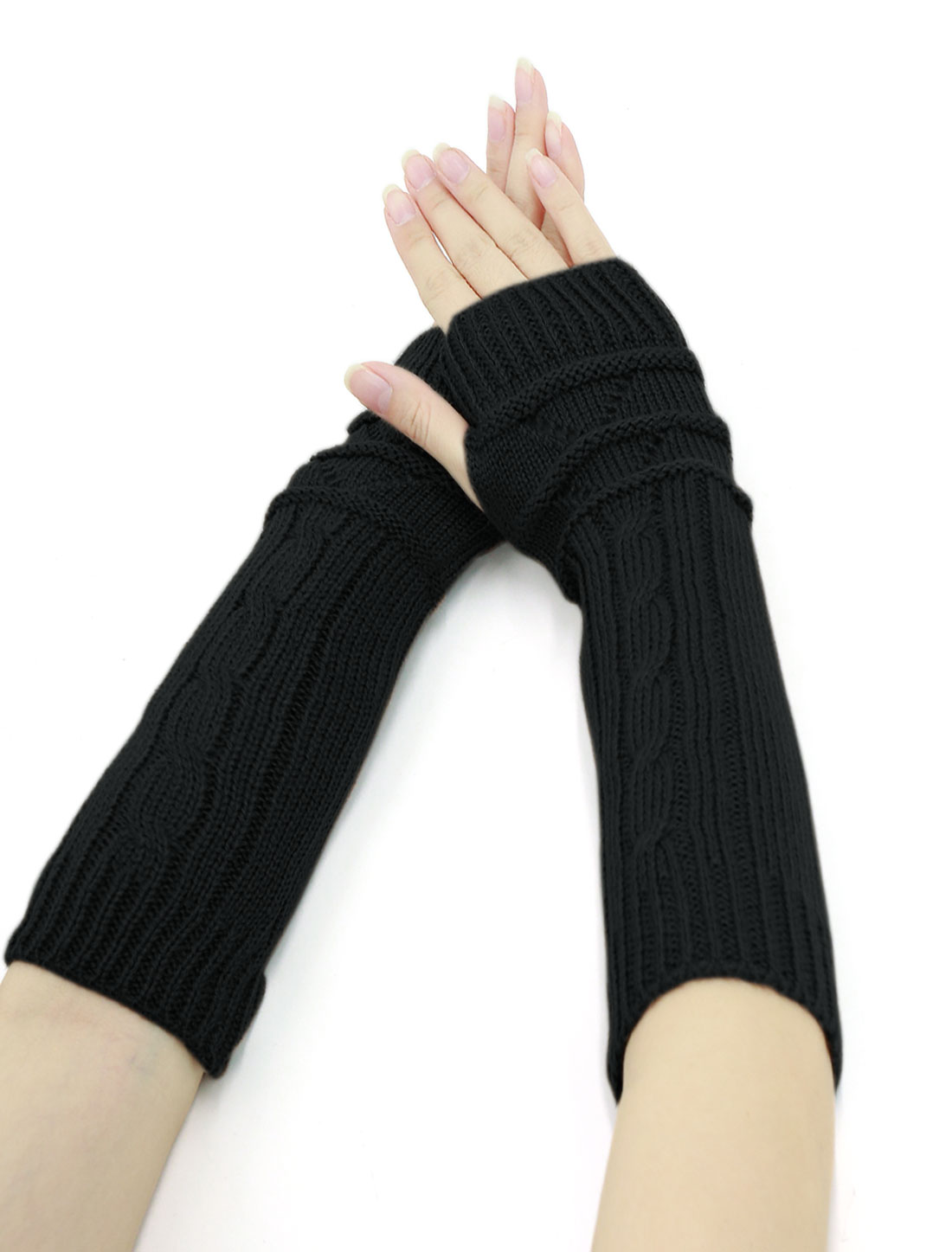 Women Thumbhole Textured Knitted Arm Warmers Pair Black