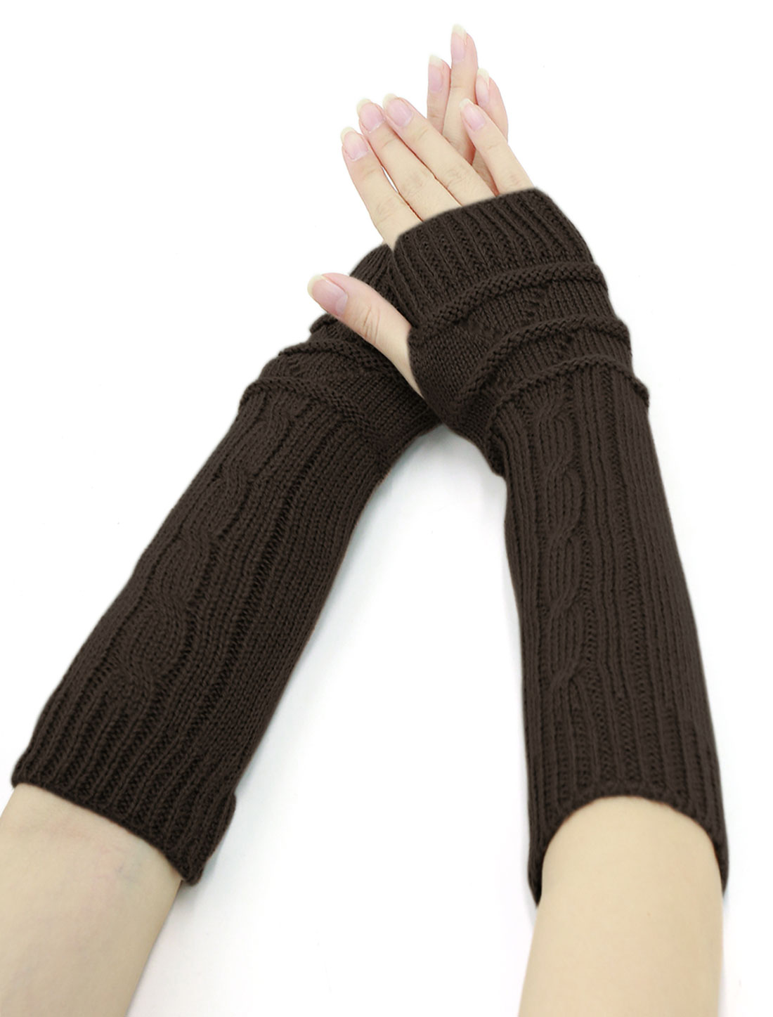 Women Thumbhole Textured Knitted Arm Warmers Pair Dark Brown
