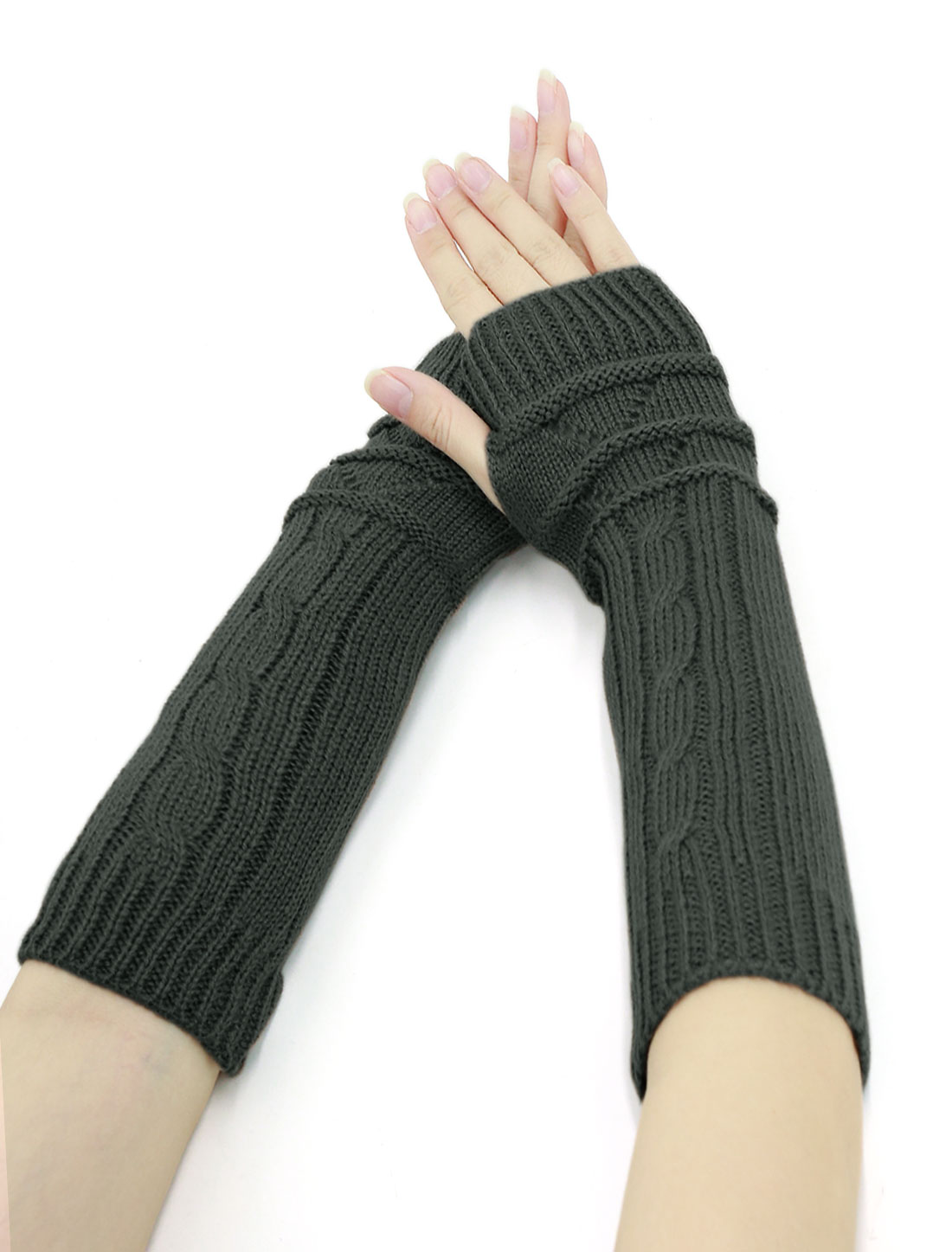 Women Thumbhole Textured Knitted Arm Warmers Pair Dark Gray
