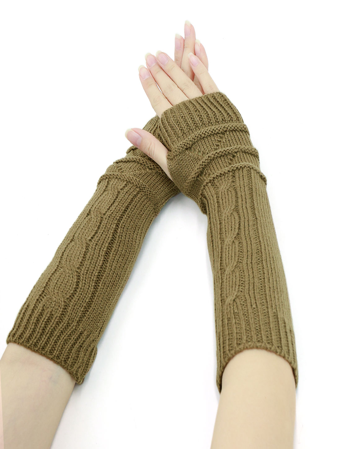 Women Thumbhole Textured Knitted Arm Warmers Pair Green