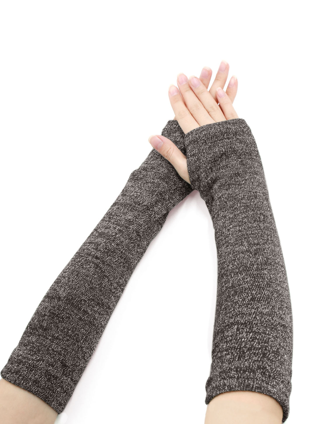 Ladies Thumbhole Ribbed Shiny Knit Arm Warmers Brown Silver