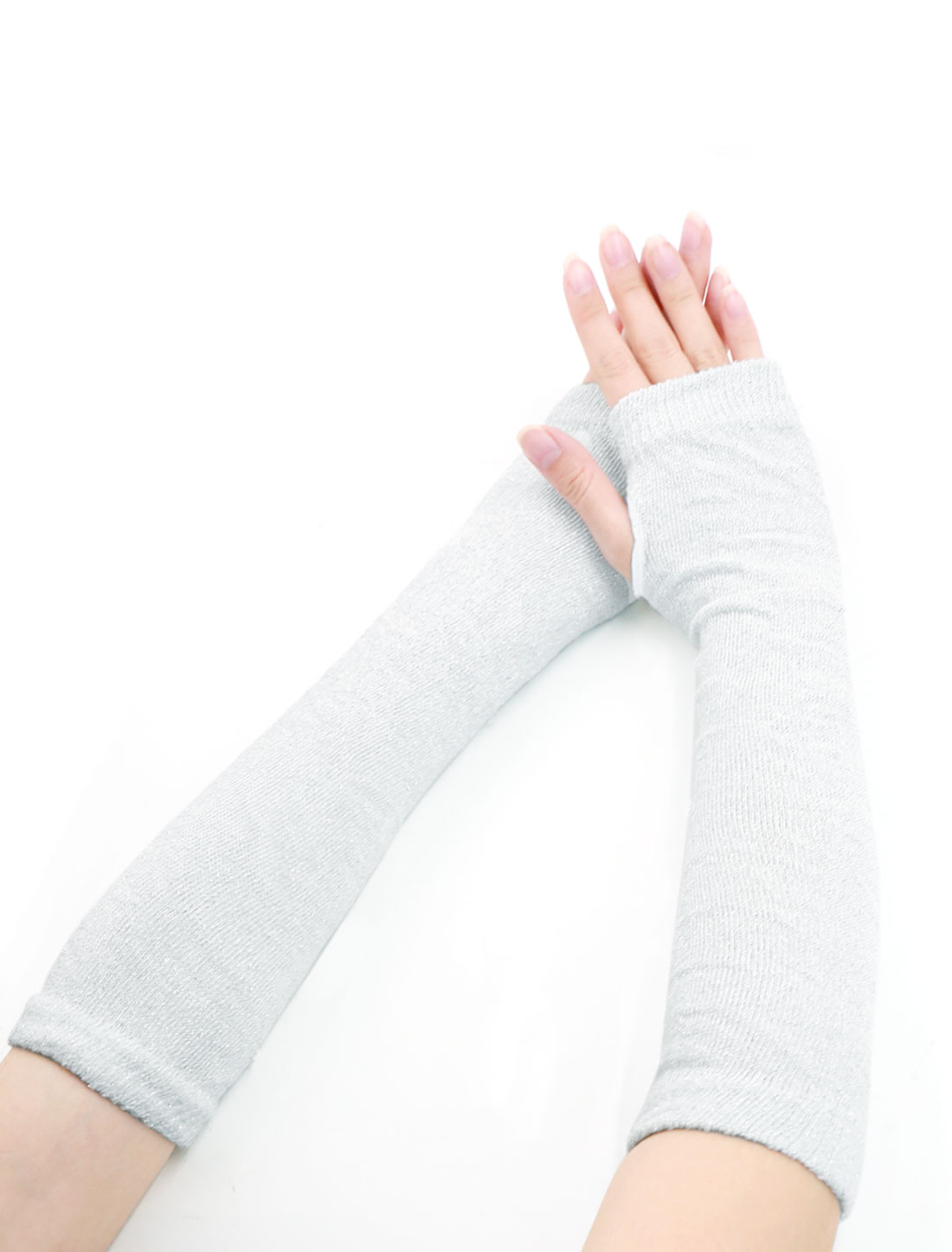 Ladies Thumbhole Ribbed Shiny Knit Arm Warmers Gray Silver