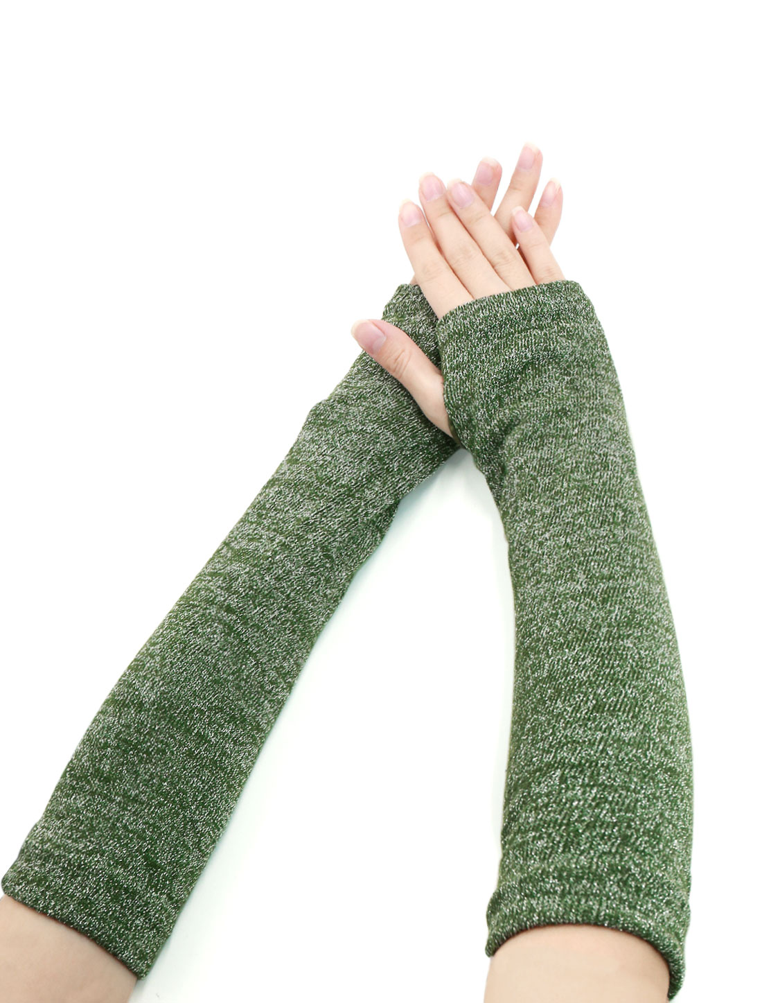 Ladies Thumbhole Ribbed Shiny Knit Arm Warmers Green Silver