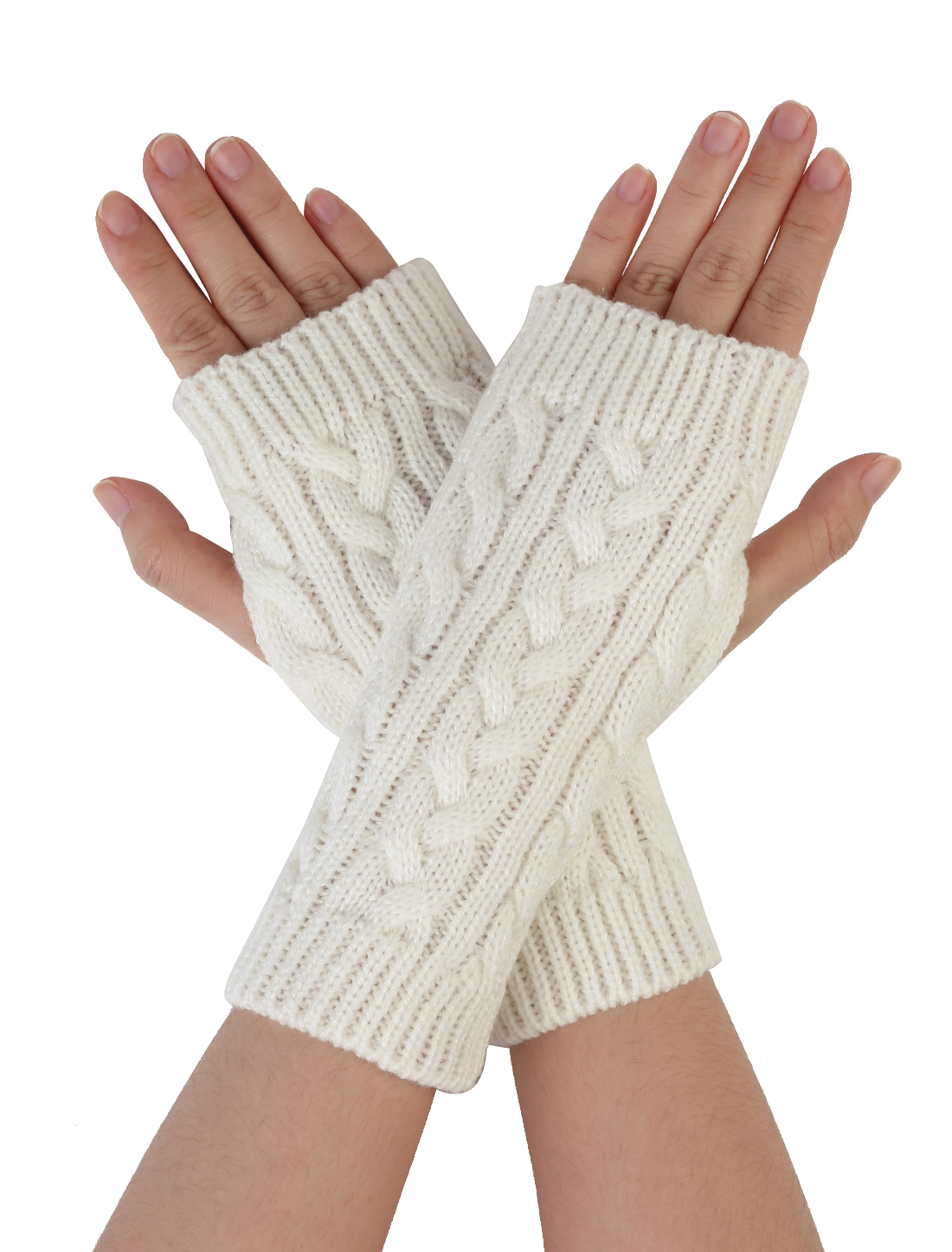 Unisex Thumbhole Fingerless Cable Knit Knitted Gloves White