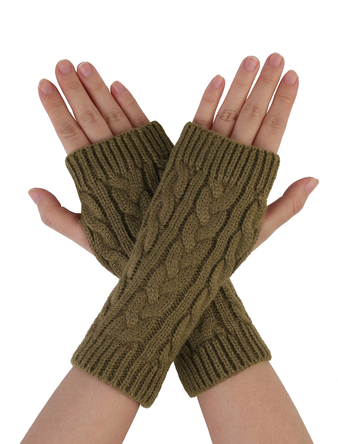 Unisex Thumbhole Fingerless Cable Knit Knitted Gloves Brown