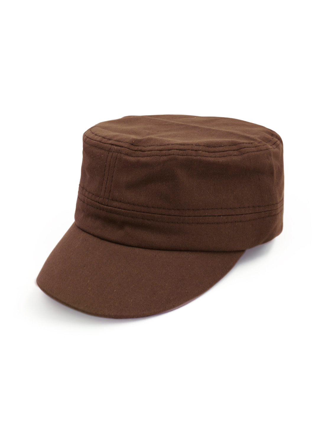 Unisex Adjustable Metal Buckle Flap Top Peaked Cap Brown