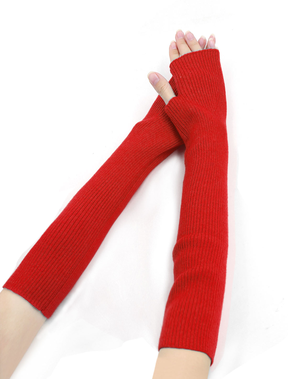 Woman Fingerless Tumbhole Elbow Length Knitted Arm Warmers Red