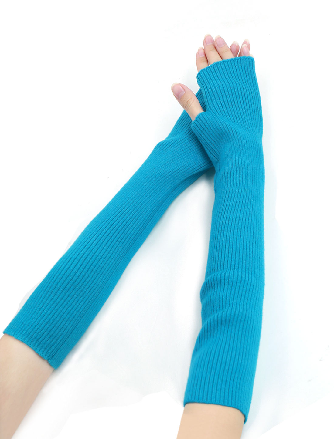 Woman Fingerless Tumbhole Elbow Length Knitted Arm Warmers Turquoise