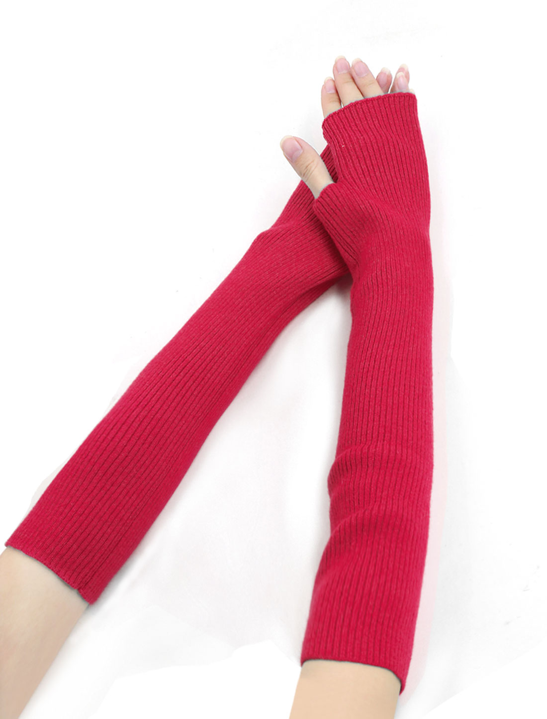 Woman Fingerless Tumbhole Elbow Length Knitted Arm Warmers Pink