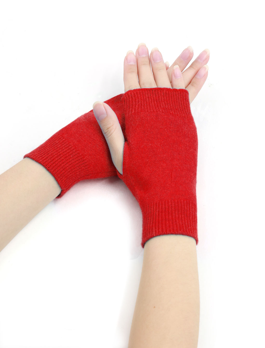 Woman Tumbhole Knitted Fingerless Gloves Red