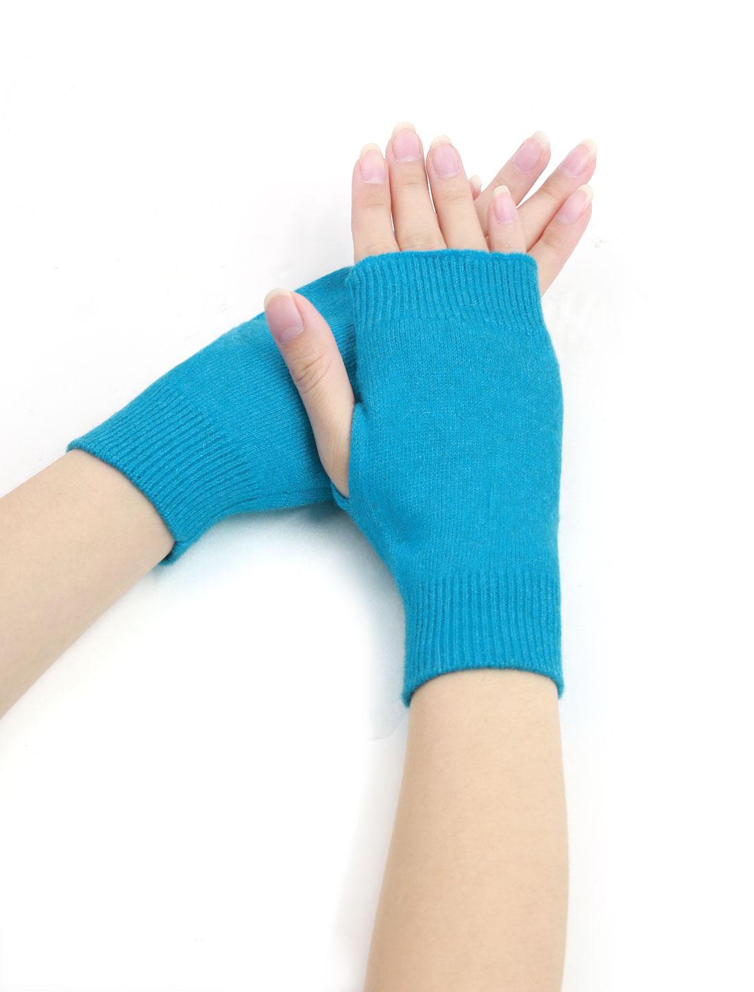 Woman Tumbhole Knitted Fingerless Gloves Blue
