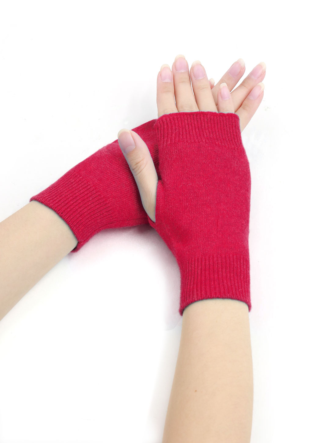 Woman Tumbhole Knitted Fingerless Gloves Pink