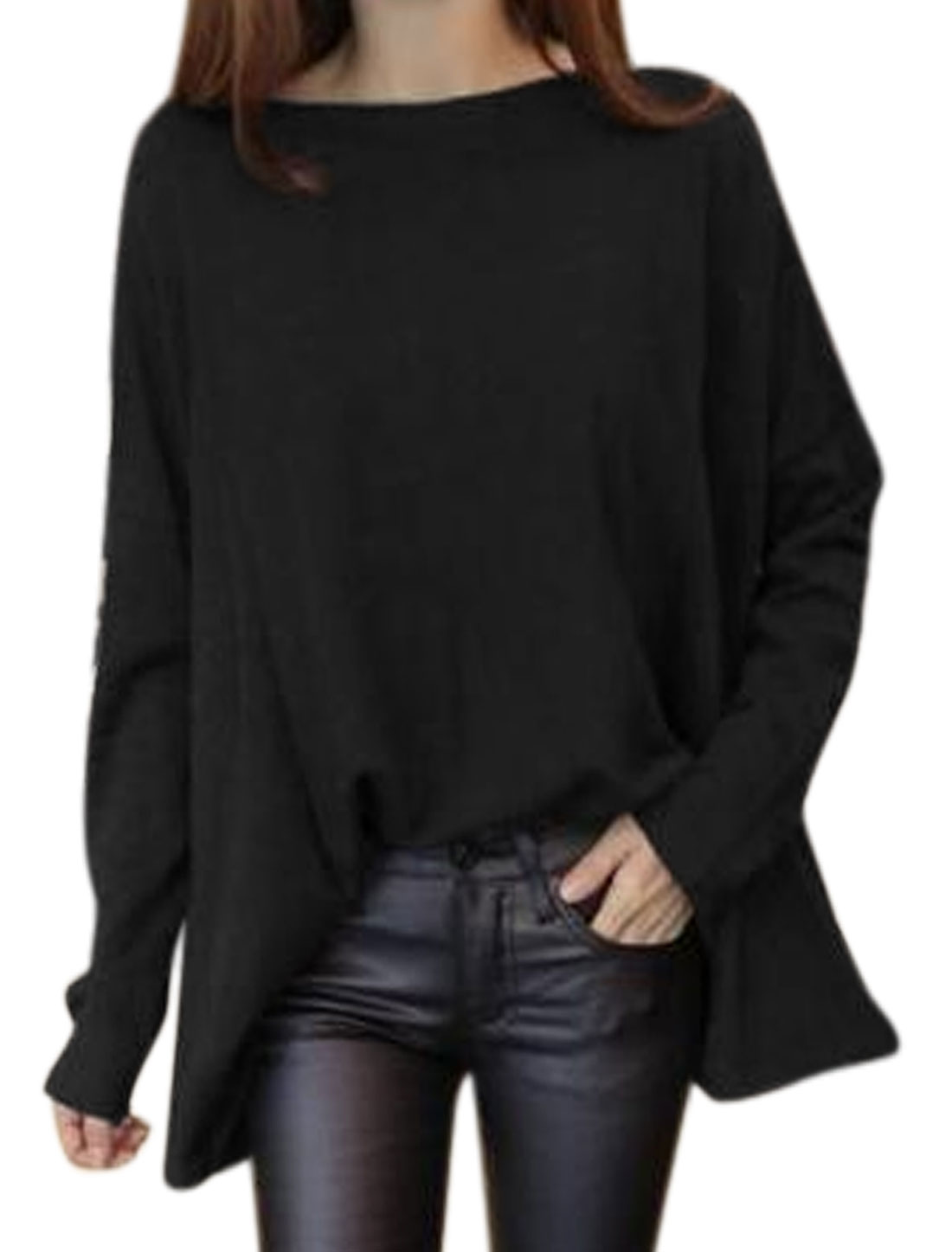 Women Boat Neck Dolman Sleeves Oversized Tunic Top Black M