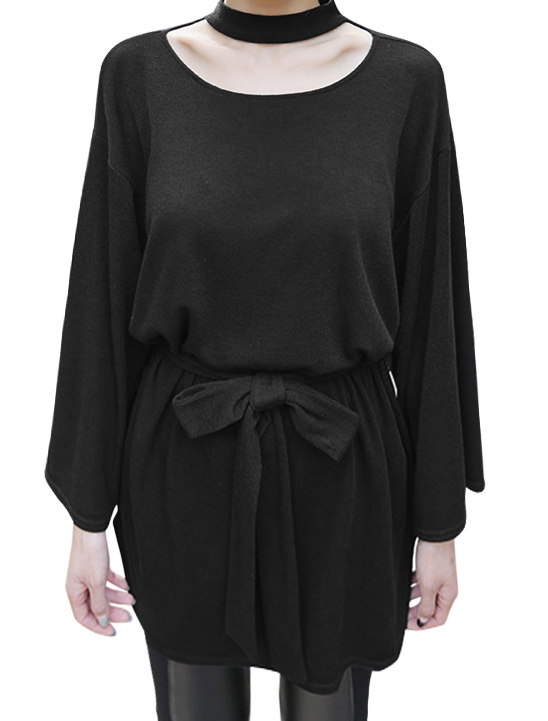 Woman Stand Collar Cut Out Front Tunic Top w Waist String Black S