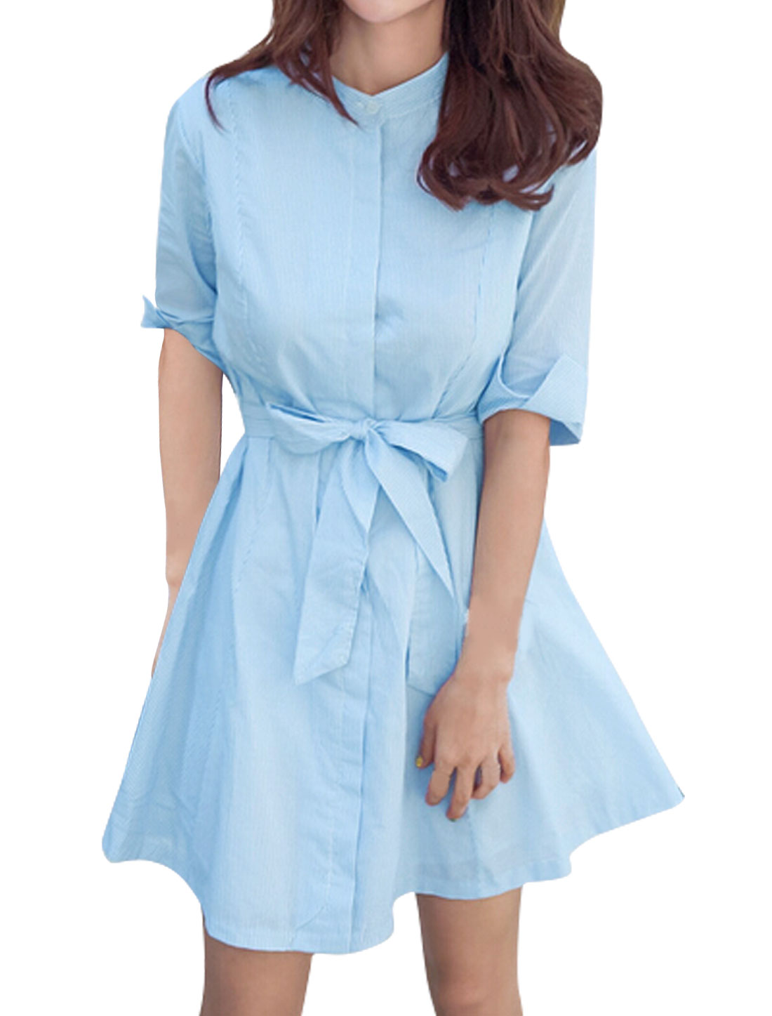 Woman Collared 1/2 Sleeves Stripes Shirt Dress w Waist String Blue XS