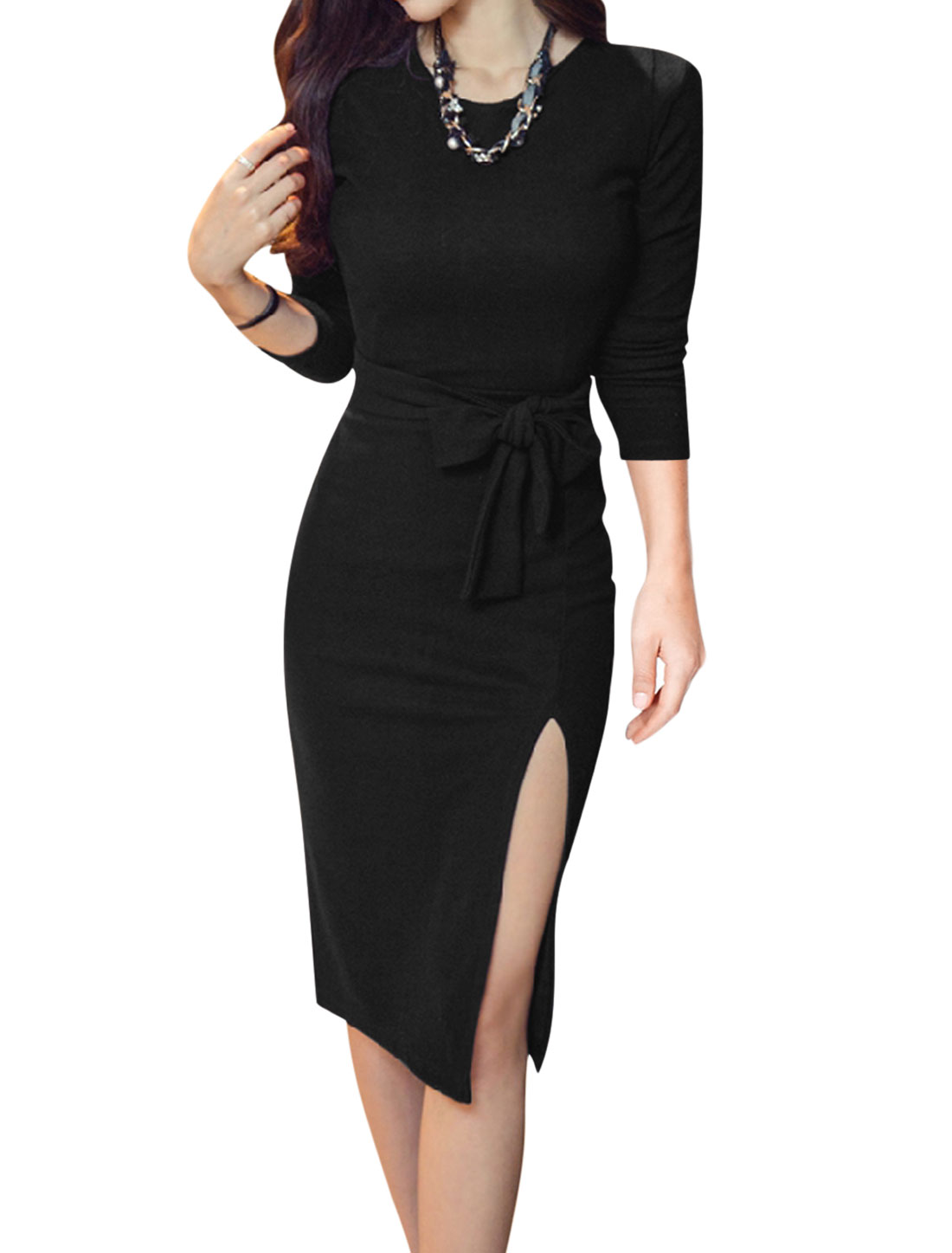 Women Split Side Slim Fit Bodycon Dress w Waist String Black S