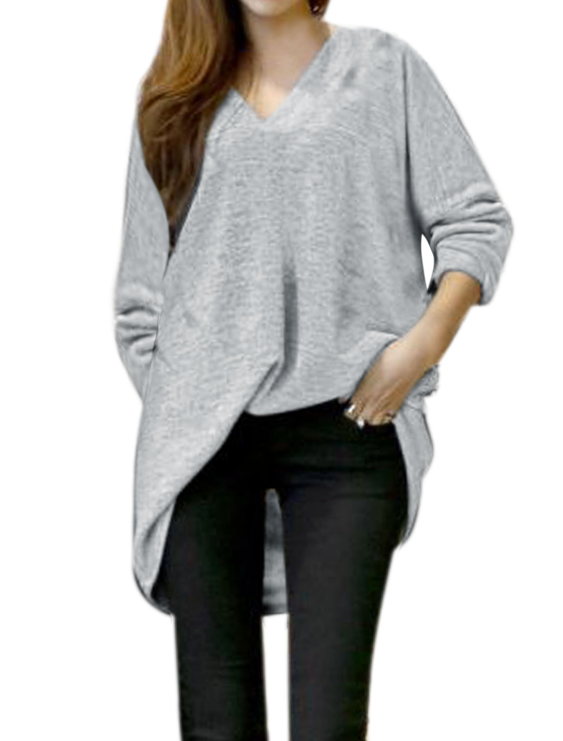 Women V Neckline Batwing Sleeves Loose Tunic Top Gray S