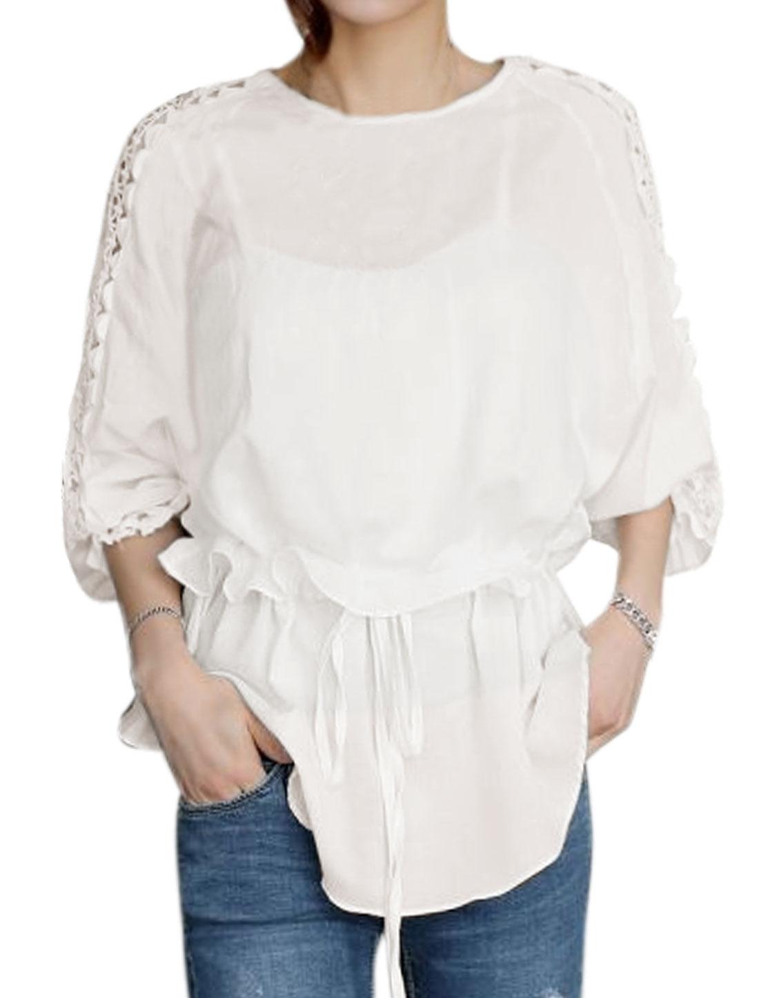 Women Crochet Hollow Out Drawstring Blouse White M