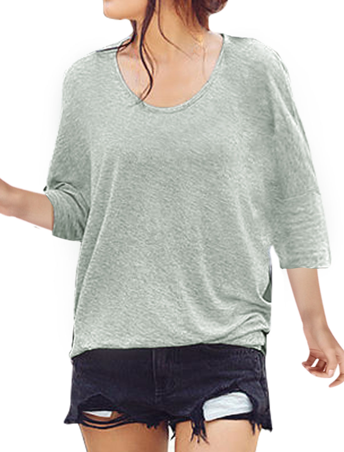 Woman Color Block Cut Out Back Loose Batwing T-Shirt Gray S