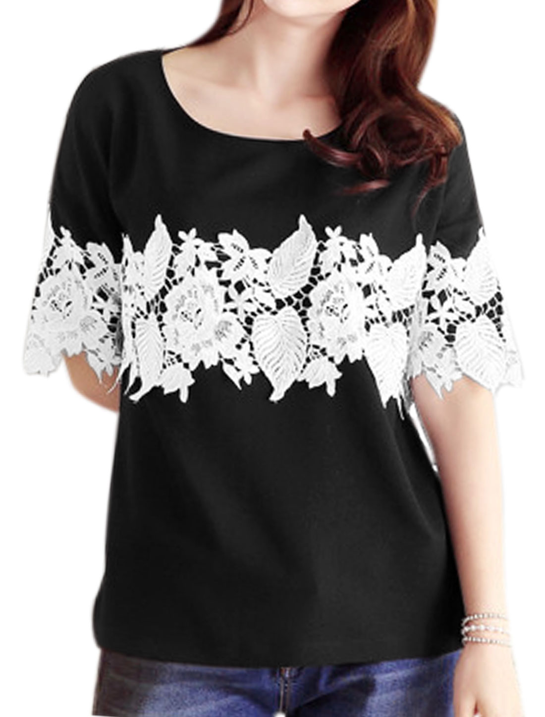 Women Round Neck Short Sleeves Crochet Tee Shirt Black XS
