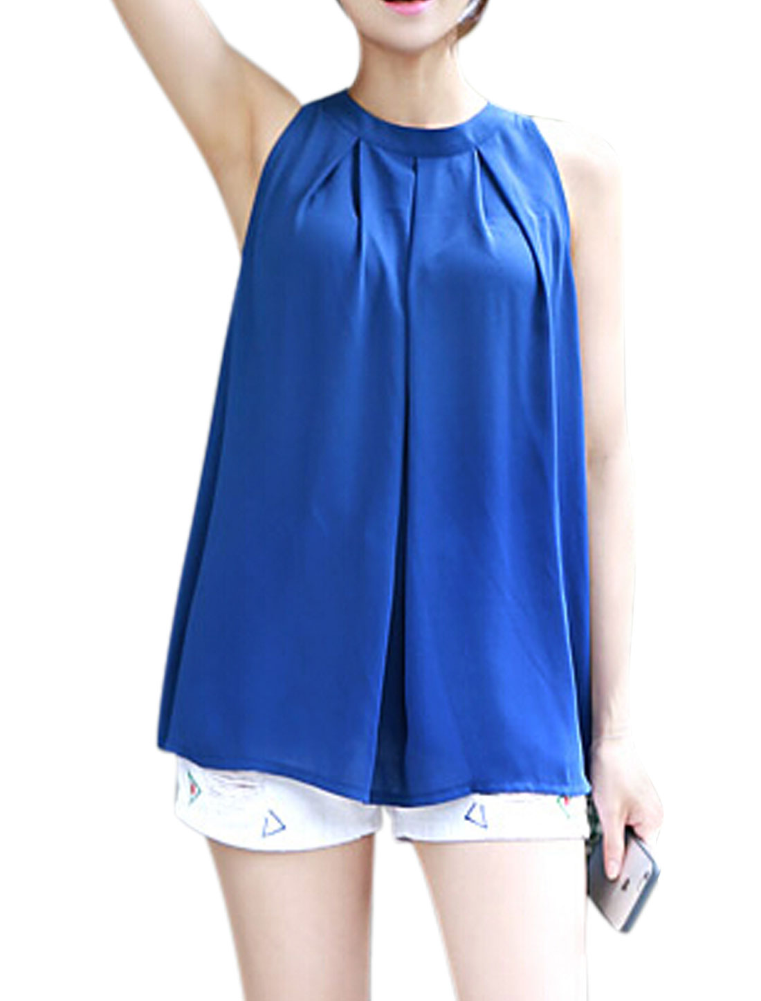 Women Crew Neck Loose Pleated Chiffon Tunic Blouse Blue S