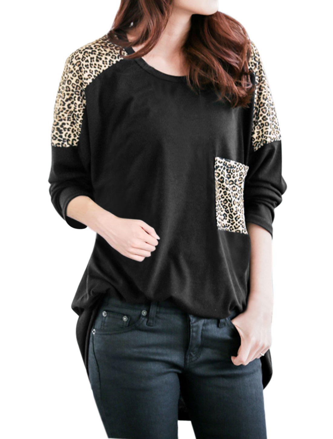 Women Loose Leopard Batwing Tunic Top w Pocket Black S