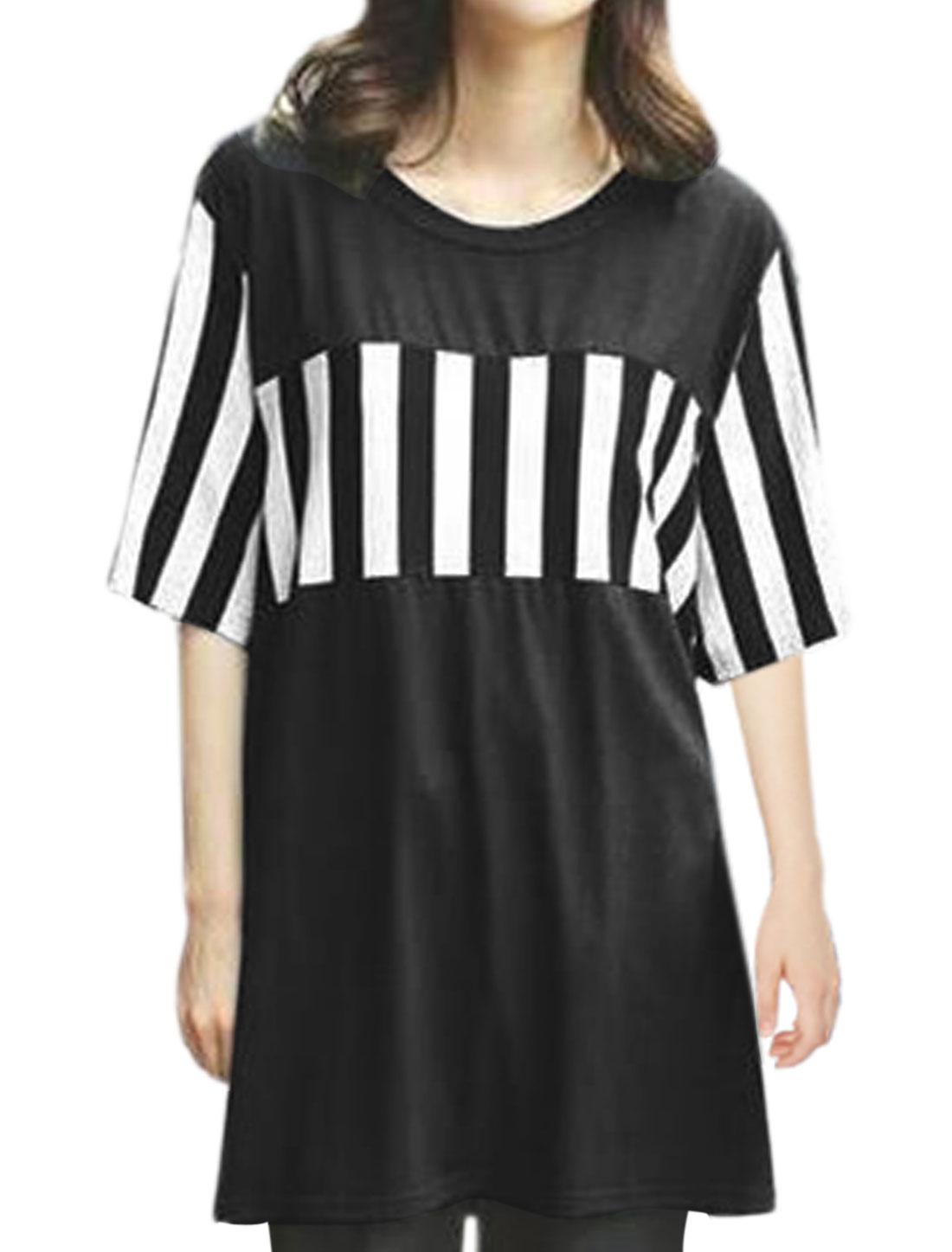 Women Half Sleeves Stripes Loose Tunic T-Shirt Black M
