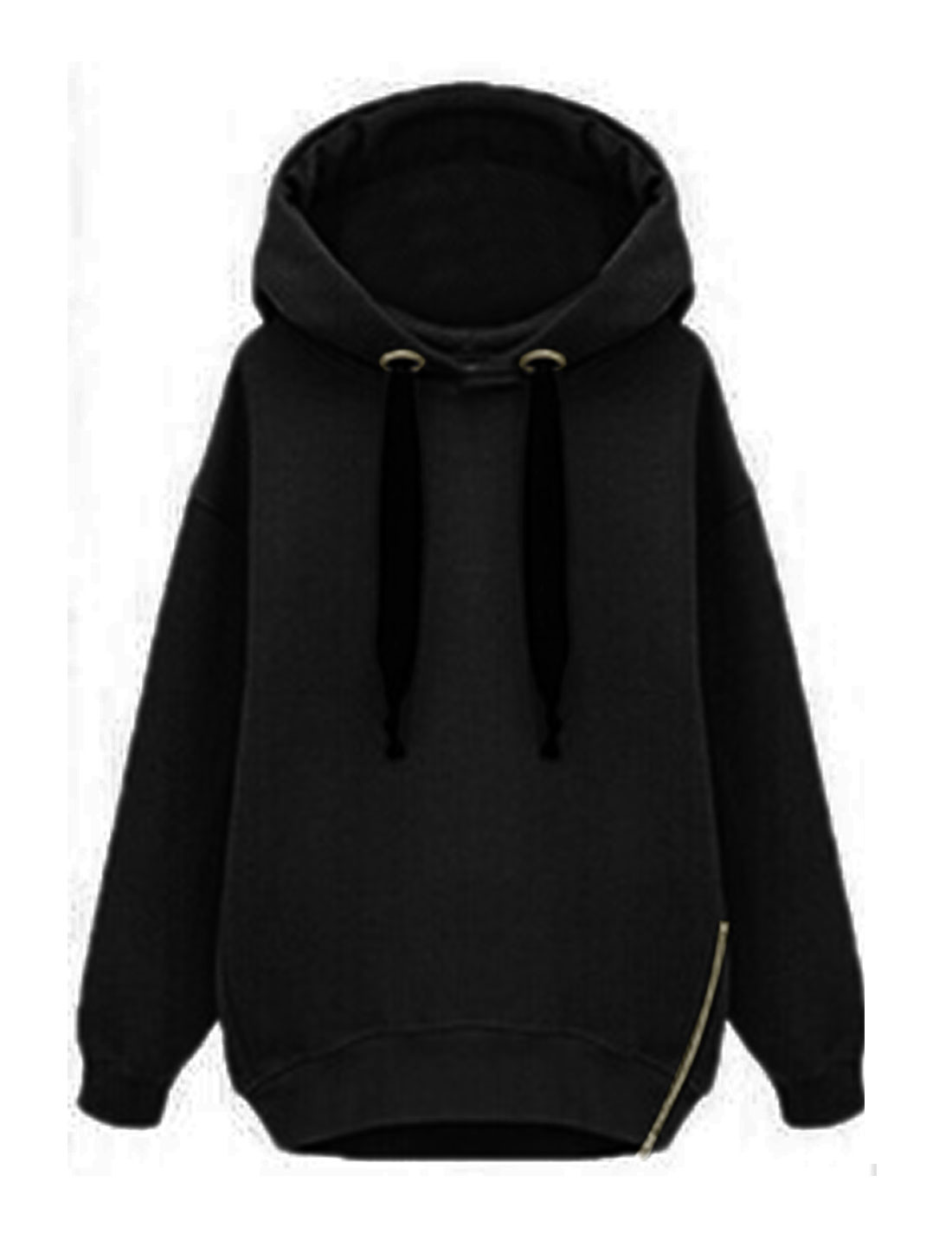 Woman Zipper Side Soft Lined Hooded Dolman Sweatshirt Black XS
