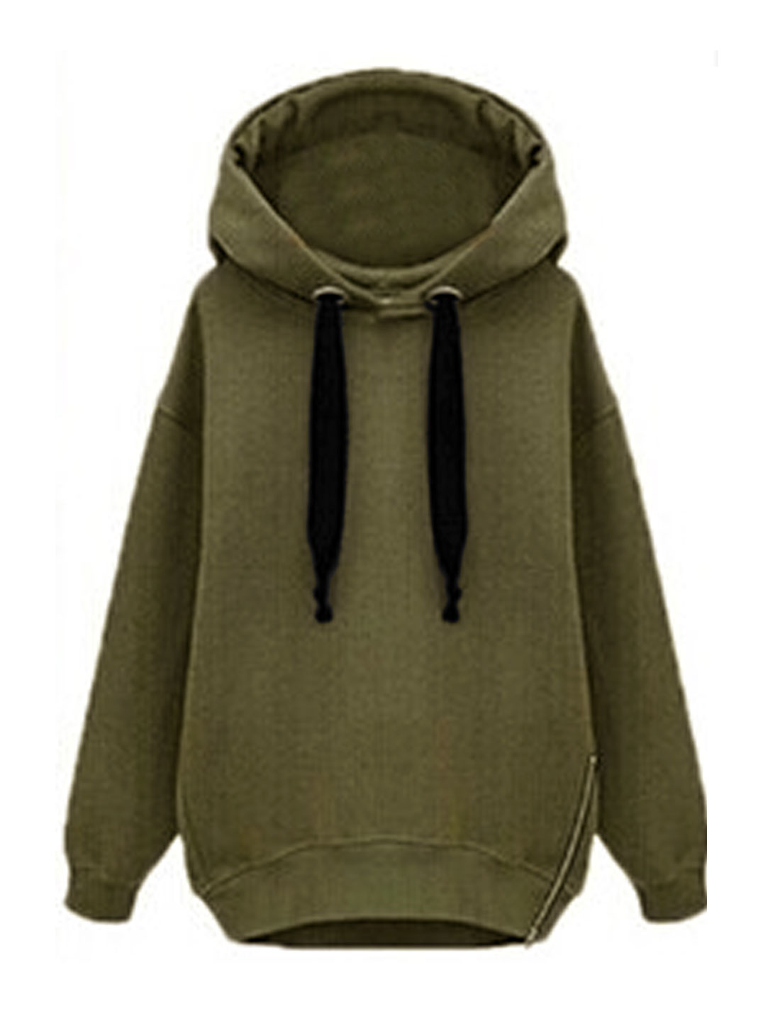 Woman Zipper Side Soft Lined Hooded Dolman Sweatshirt Green XS