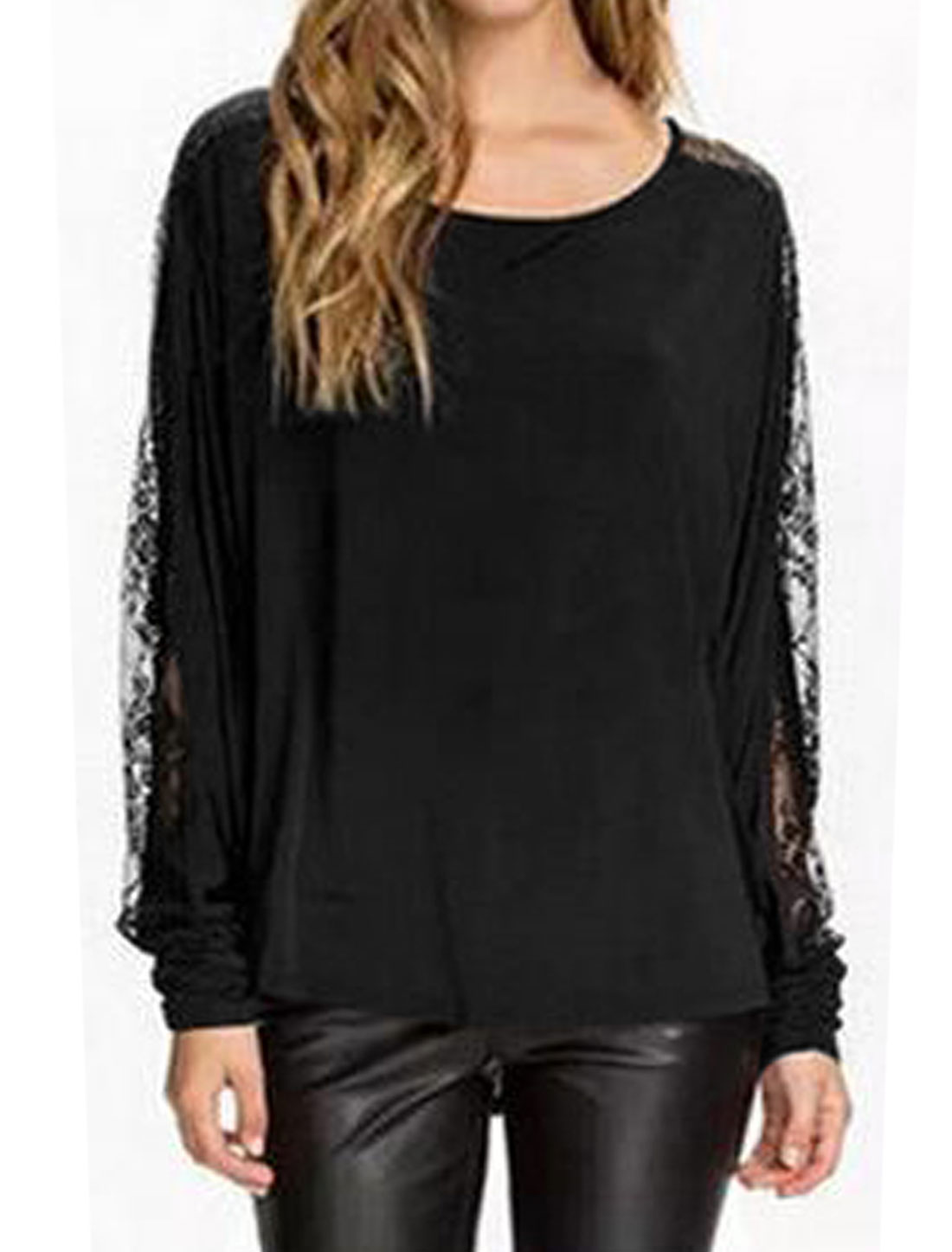 Women Round Neck See Through Lace Batwing Blouse Black S