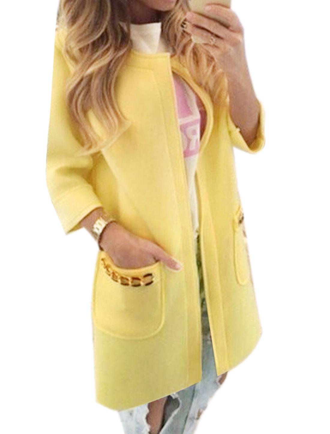 Women Metal Chain Decor Two Pockets Tunic Cardigan Yellow S