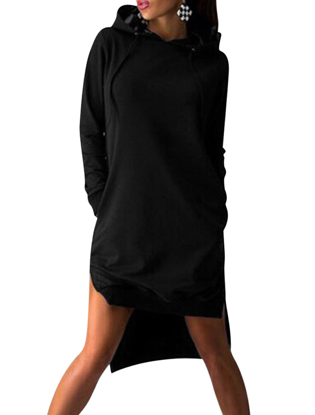 Woman Hooded Split Sides Soft Lined Tunic Sweatshirt Black XS