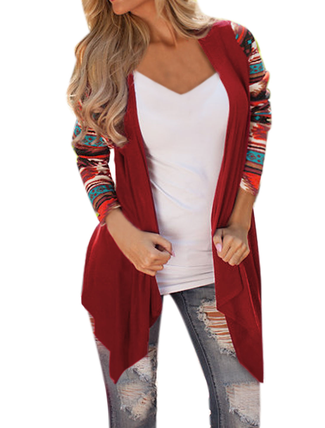 Women Opening Front Draped Paneled Geometric Cardigan Red S