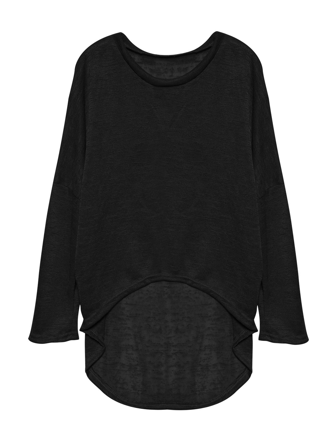 Ladies Hi-Lo See Through Loose Dolman Knit Shirt Black S
