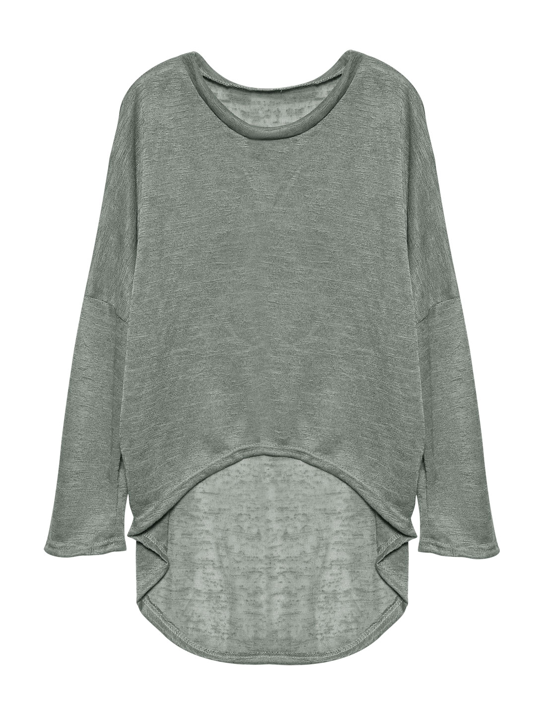Ladies Hi-Lo See Through Loose Dolman Knit Shirt Gray S