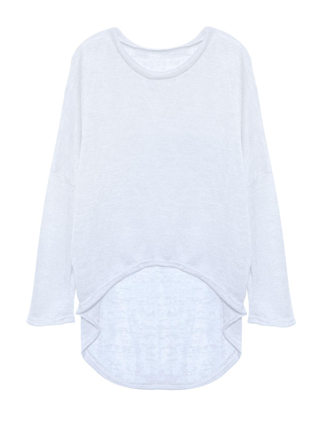 Ladies Hi-Lo See Through Loose Dolman Knit Shirt White S
