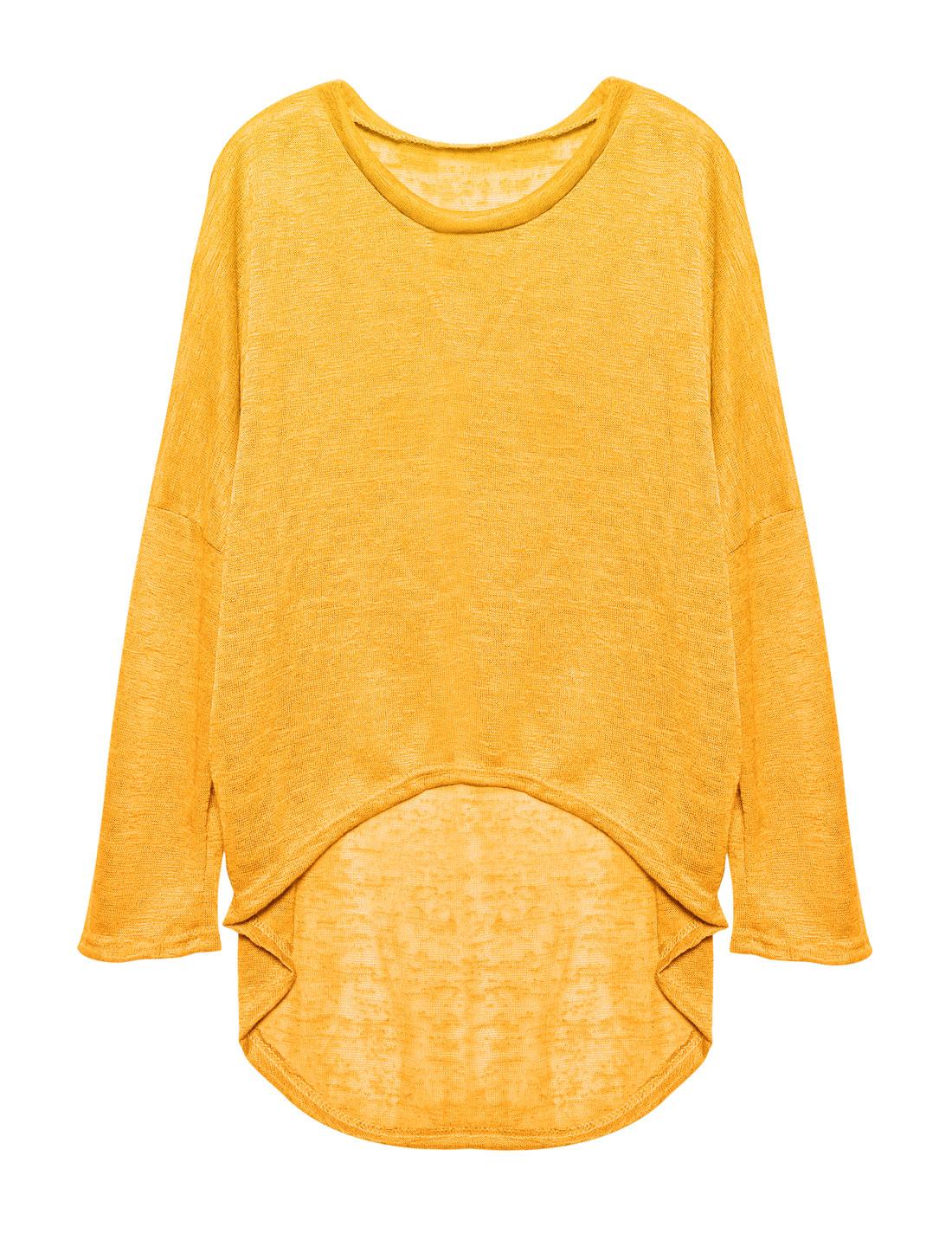 Ladies Hi-Lo See Through Loose Dolman Knit Shirt Yellow S