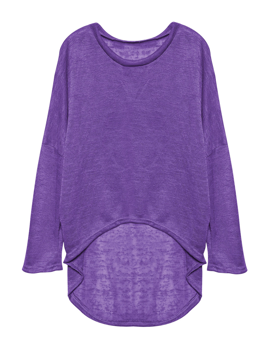 Ladies Hi-Lo See Through Loose Dolman Knit Shirt Purple S