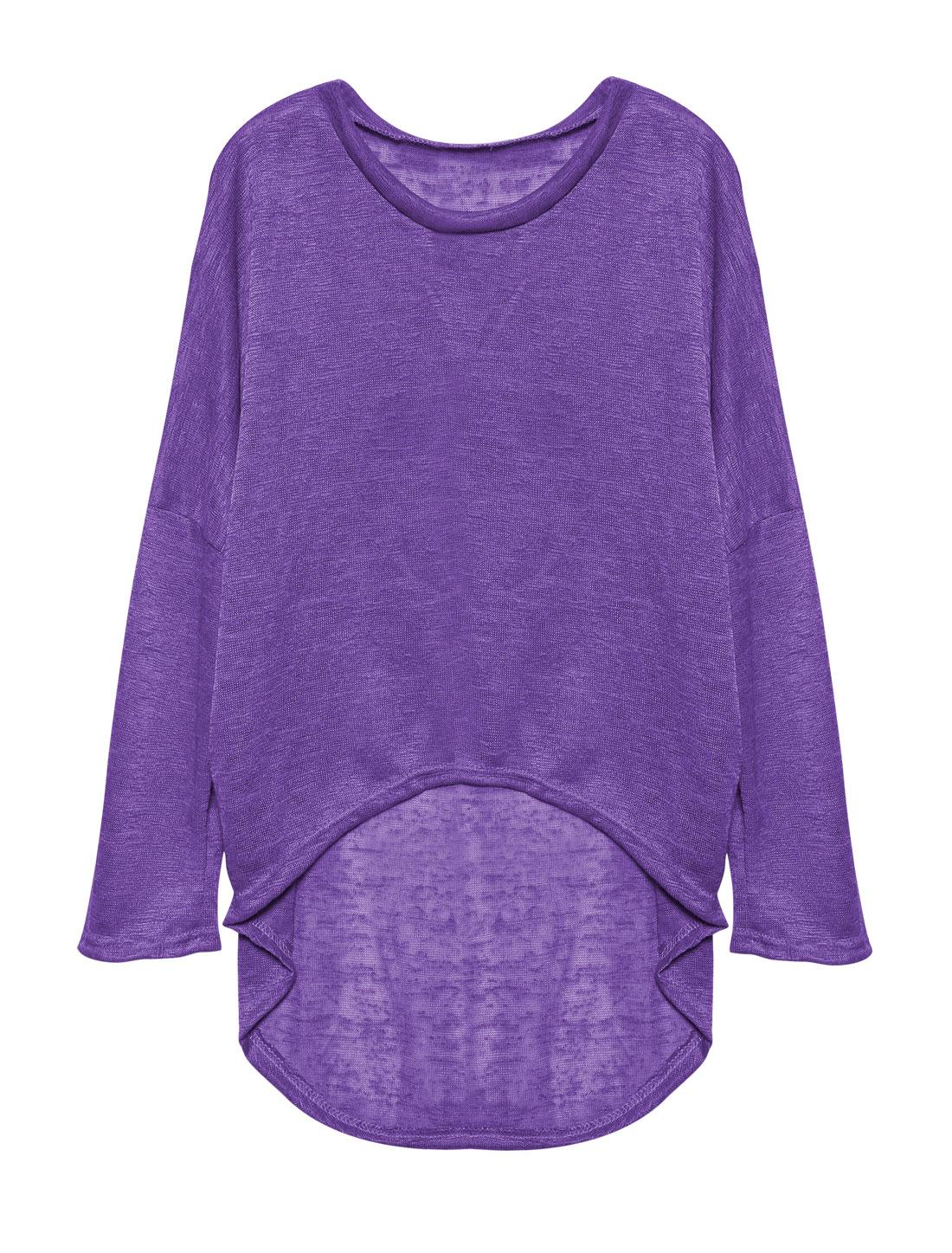 Ladies Hi-Lo See Through Loose Dolman Knit Shirt Purple S
