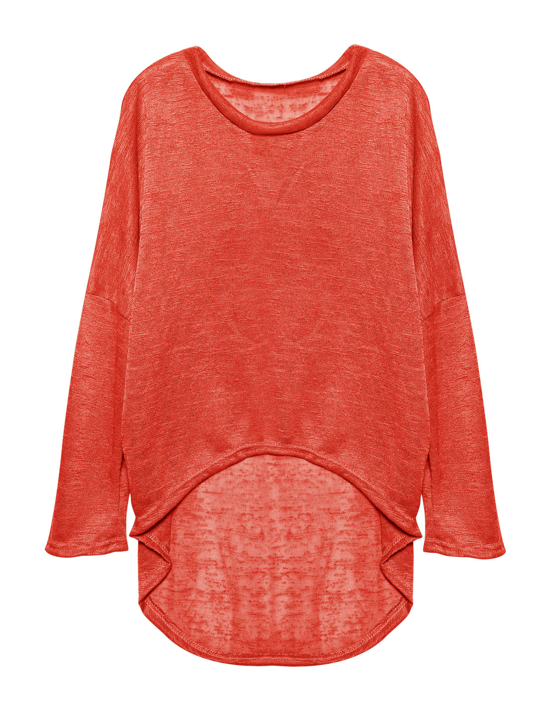 Ladies Hi-Lo See Through Loose Dolman Knit Shirt Red S