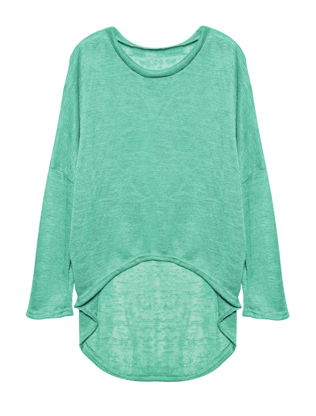 Ladies Hi-Lo See Through Loose Dolman Knit Shirt Green S