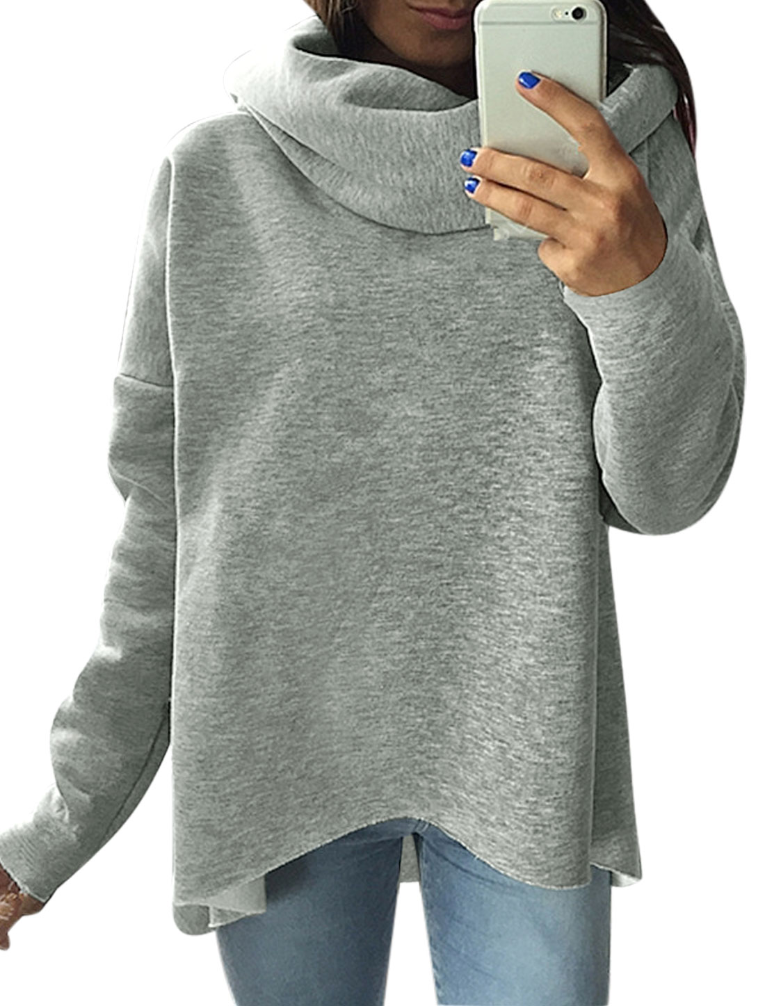 Women Cowl Neck Dolman Sleeves Hi-Lo Sweatshirt Gray S