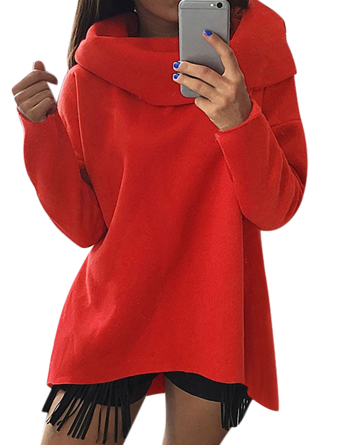 Women Cowl Neck Dolman Sleeves Hi-Lo Sweatshirt Red XS