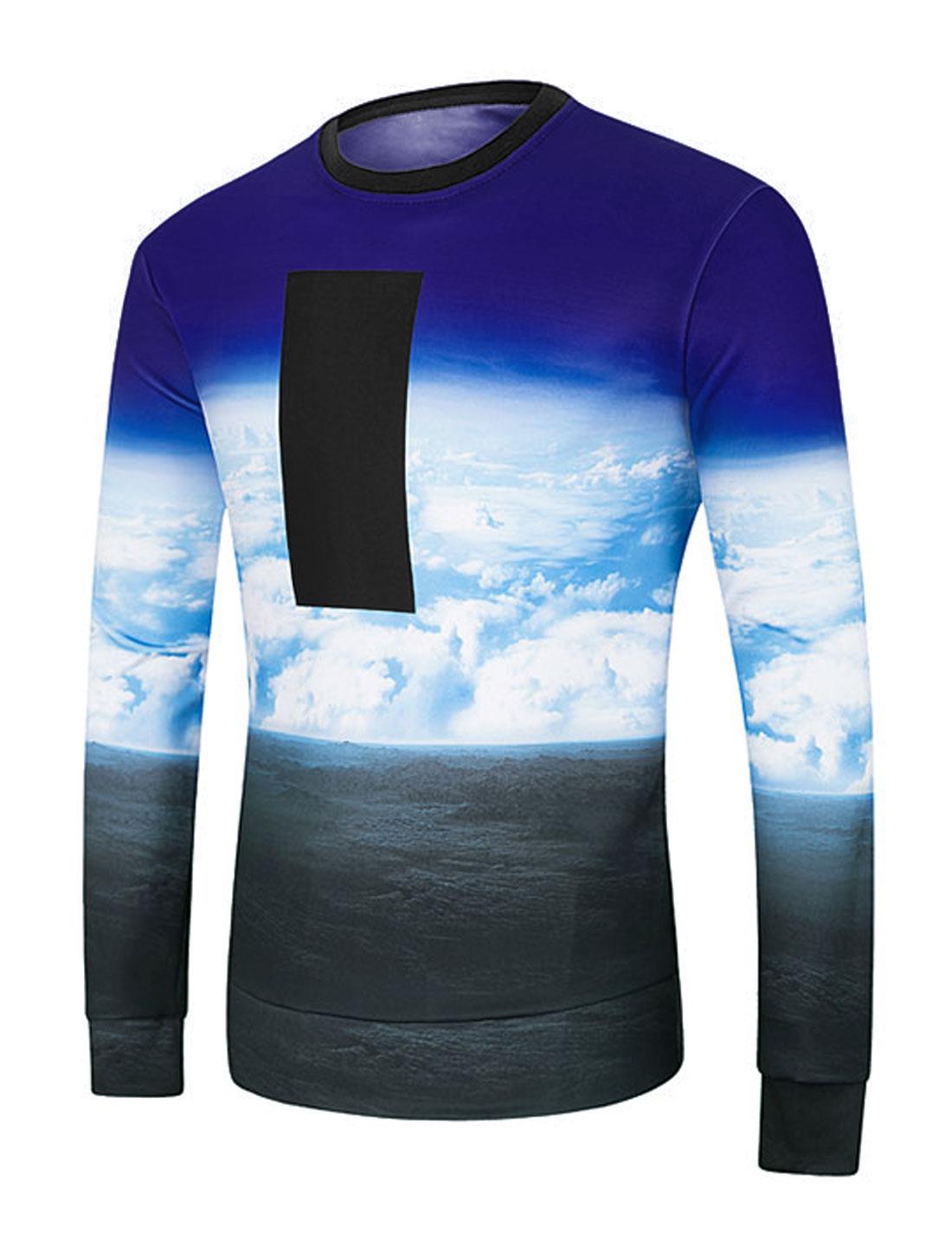 Men Crew Neck Contrast Color Sky Print Sweatshirt Black M